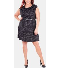 ny collection plus size printed belted fit & flare dress