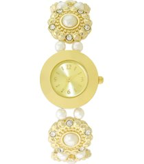 charter club women's gold-tone crystal & imitation pearl flower stretch bracelet watch 25mm, created for macy's