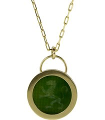 jade lion fantasy pendant necklace