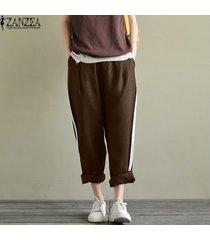 zanzea ocasional de las mujeres del tamaño extra grande de rayas pantalones sueltos pantalones largos de cintura alta -marrón