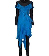 marine serre aquanaut silk draped dress - blue
