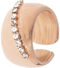 anello in bronzo lucido/satinato rosato e cristalli per donna