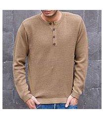 men's cotton henley sweater, 'paracas desert' (peru)