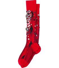 miu miu sequin-embellished wool socks - red