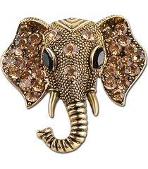spilla con strass vintage testa di elefante in argento con gioielli in oro rodiato per le donne