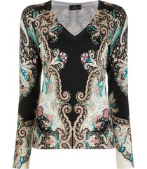 etro bohemian-print v-nekc pullover - black