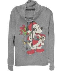 fifth sun juniors disney mickey classic just santa mickey fleece cowl neck sweatshirt