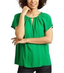 short sleeves ruffled blouse