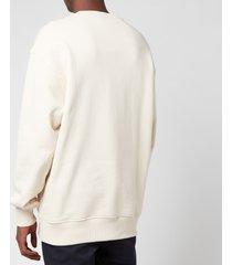 acne studios men's embroidered logo sweatshirt - coconut white - m