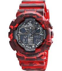 reloj g shock ga_100cm_4 rojo resina