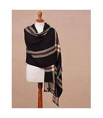 100% alpaca shawl, 'elegant midnight' (peru)