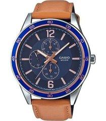 reloj analógico hombre casio mtp-e319l-2b cronógrafo - marrón con azul