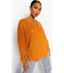 gebreide trui met v-hals, orange