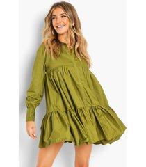 katoenen blouse jurk met laagjes, olive