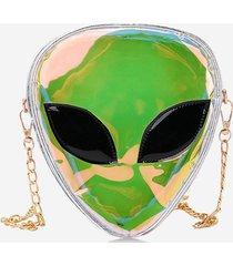 alien shape hologram chain crossbody bag