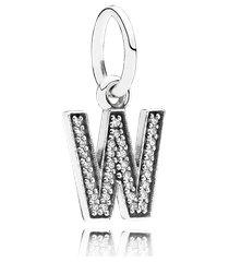 charm de prata pendente brilhante letra w