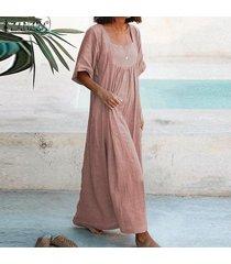 zanzea vestido largo de cuello cuadrado para mujer vestido largo liso de verano vestido largo de talla grande -rosado