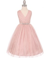 blush pink sleeveless v-neck pleated rhinestone satin sash flower girl dress