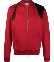 alexander mcqueen harness strap bomber jacket - red