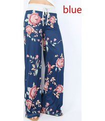 blue wide leg pants women's mid waisted fashion printed casual loose floral
