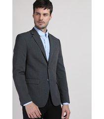 blazer masculino comfort com bolsos cinza mescla escuro