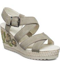 sling sandals sandalette med klack espadrilles creme gabor