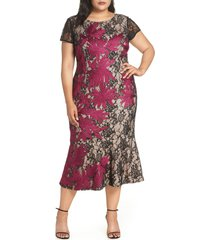 plus size women's js collections two tone embroidered lace dress