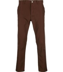 chocolate brown straight-leg trousers