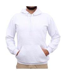 moletom masculino canguru com capuz algodão casual conforto azul gg branco