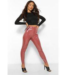 superelastische legging van vinyl met ruches, rose
