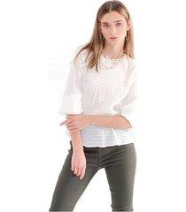 blusa para mujer cuello redondo, manga larga, tela fluida color-blanco-talla-xl