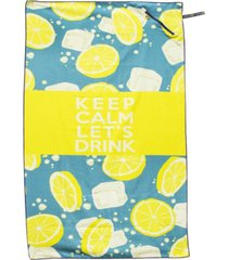 premium beach towel with zipper pocket super absorbent & soft lightweight compact eco-friendly anti-bacterial travel accessory keep calm let's drink yellow by minxny bedding