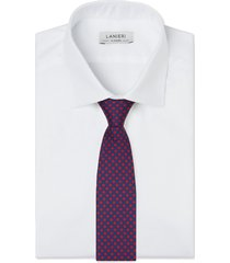 cravatta su misura, lanieri, twill seta microdesign blu, quattro stagioni | lanieri