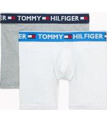 tommy hilfiger men's bold cotton boxer brief 2pk white/grey - m