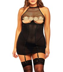 icollection lace applique & honeycomb mesh chemise & g-string thong set, size 3 x in black at nordstrom