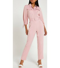 river island womens pink belted jumpsuit