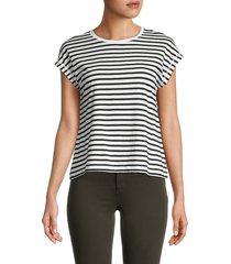 for the republic women's striped t-shirt - white black - size s