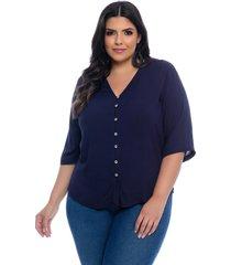 blusa plus size camisaria prelúdio azul marinho viscose