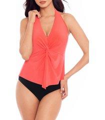 women's magicsuit mallory one-piece halter swimsuit, size 16 - coral