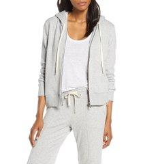 women's ugg nancy zip fleece hoodie, size large - grey