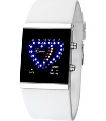 reloj en forma de corazón a prueba de agua-blanco