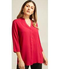 blusa unicolor botonera frontal rosado 6