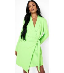 tall neon geplooide geweven blazer jurk met strik, neon-green