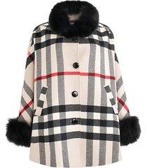 fox fur-trim cashmere & wool cape