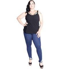 calça jeans feminina plus size da cambos - kanui