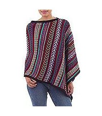 100% alpaca poncho, 'color currents' (peru)