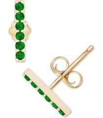 diamond emerald bar stud earrings (1/5 ct. t.w.) in 14k gold