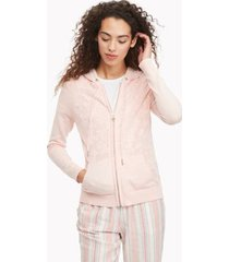 tommy hilfiger women's essential lace sweater hoodie ballerina pink - xs
