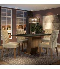 conjunto sala de jantar madesa ingrid mesa tampo de madeira com 4 cadeiras marrom