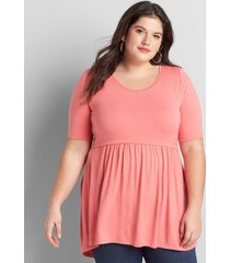 lane bryant women's perfect sleeve high-low babydoll swing tunic 10/12 sun kissed coral